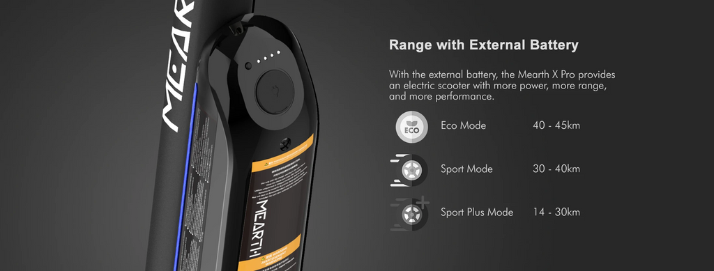 Mearth X Pro Electric Scooter range with external battery up to 45km
