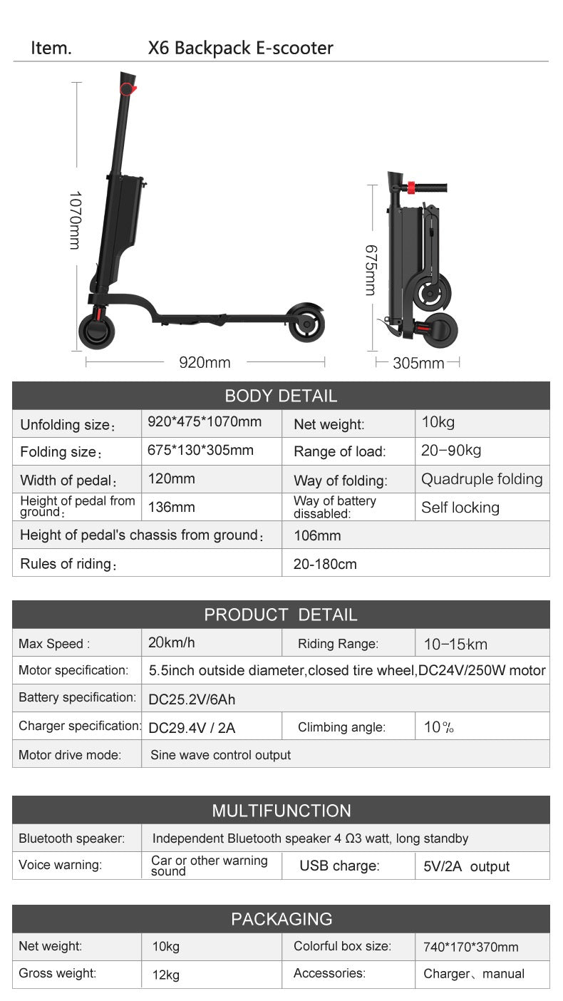BACKPACK ELECTRIC SCOOTER MOST FOLDABLE ELECTRIC SCOOTER DIMENSION AND SPECIFICATION