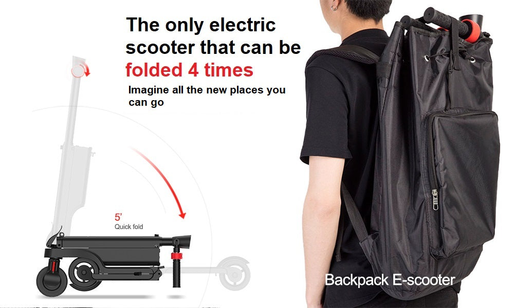 backpack electric scooter with removable battery and quadruple folding design