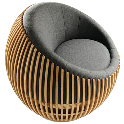 Attractive round chair on low revolving base