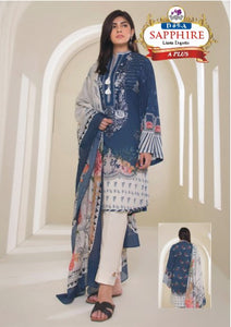 3 Piece Linen Dress with Linen Dubbata Printer Sleeves and Plain Trouser
