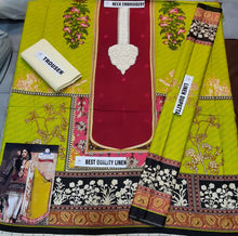 Load image into Gallery viewer, 3 Piece Sana Safinaz Linen Dress with Linen Dubbata Master Copy
