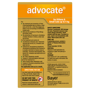 Advocate Fleas, Heartworm & Worms For Kittens & Small Cats Up To 4kg