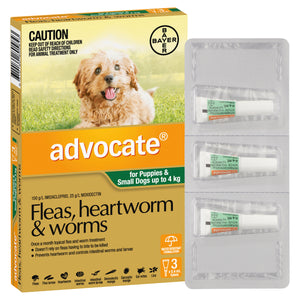 Advocate Fleas, Heartworm & Worms For Puppies & Small Dogs Up To 4kg