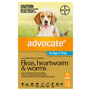 Advocate Fleas, Heartworm & Worms For Dogs 4 - 10kg