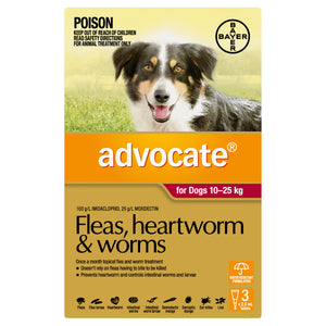Advocate Fleas, Heartworm & Worms For Dogs 10 - 25kg