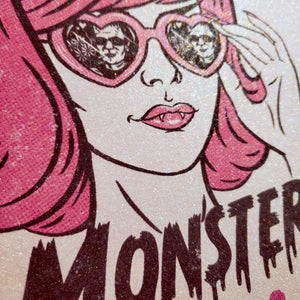 classy creeps monster lovin' glitter print close up
