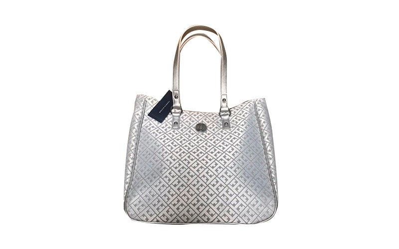 Cartera Tommy Hilfiger, color blanco plata