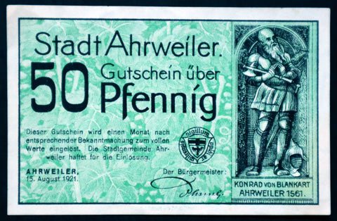 "AHRWEILER 1921 XX-RARE *Specimen* ""There Grows the Wine..."" Green 50 Pfennig German Notgeld"