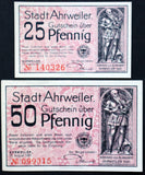 "AHRWEILER 1921 ""There Grows the Wine..."" Red complete series German Notgeld"