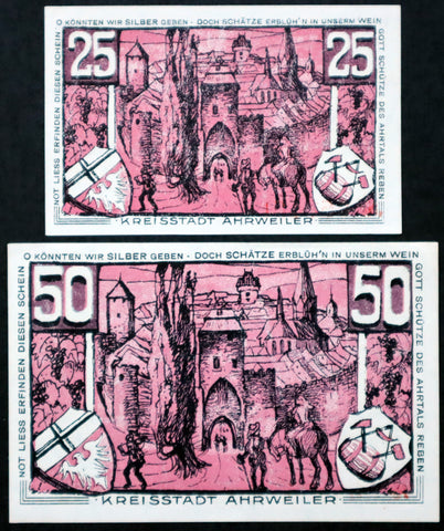 "AHRWEILER 1921 ""If Only We Could Give Silver..."" Red complete series German Notgeld"