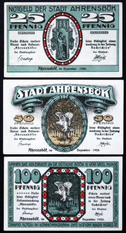 "AHRENSBÖK 1920 ""De Holsteener"" Low German complete set Germany Notgeld"