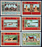 "AKEN 1921 ""Boats on the Elbe River, Beaver"" No Watermark Complete Series German Notgeld"