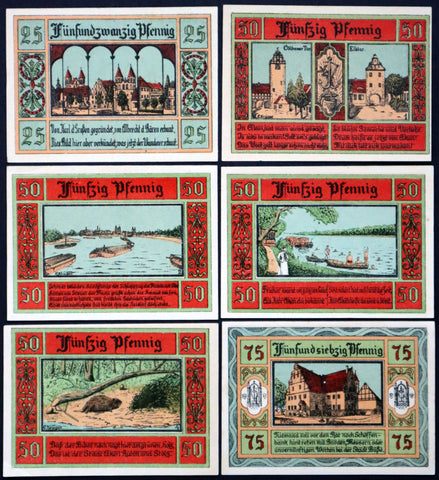 "AKEN 1921 ""Boats on the Elbe River, Beaver"" Flames Watermark Complete Series German Notgeld"