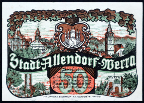 "ALLENDORF 1921 ""Linden Tree"" Rare complete series of one German Notgeld"