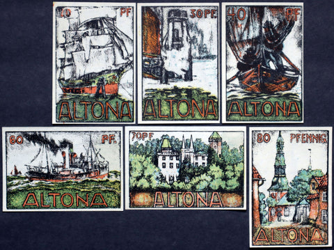 "ALTONA 1921 ""Charcoal Sketches"" complete series, incredible art! German Notgeld"