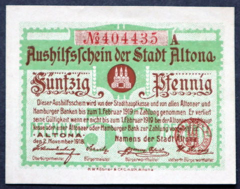 ALTONA 1918 50 Pfennig Circulating Notgeld Germany Hamburg