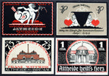 "ALTHEIDE 1921 ""Hearts & Cupids"" RARE Red complete series German Notgeld Valentine"