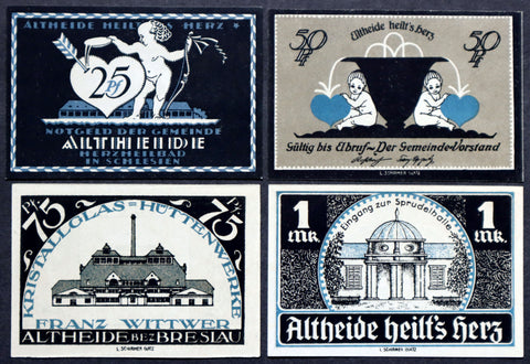 "ALTHEIDE 1921 ""Hearts & Cupids"" RARE Blue complete series German Notgeld Valentine"