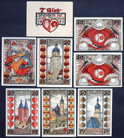 "ALTENBURG 1921 ""Skat Card Game"" complete series w/Original Bundle Wrapper! German Notgeld"
