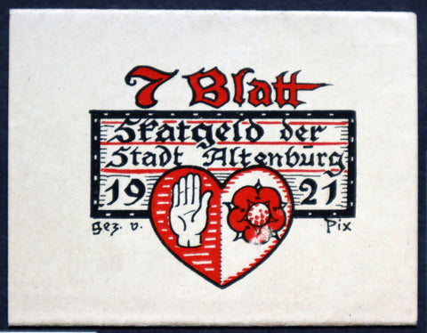 "ALTENBURG 1921 ""Skat Card Game"" Original Bundle Wrapper only German Notgeld"