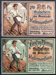 "KALTENNORDHEIM 1919 Sower Motif! ""From Slave Chains, Only Work Can Save Us"" complete set circulating Notgeld"