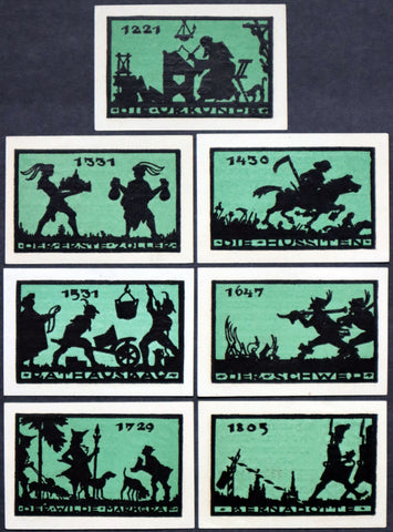 ANSBACH 1921 Thin paper historical silhouette series 6x25Pf complete German Notgeld