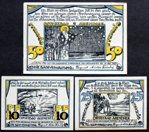 "ARENDSEE 1922 ""Wizard on the Ocean"" complete series German Notgeld Reutergeld"