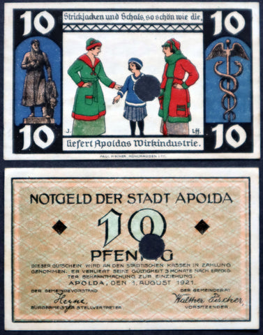"APOLDA 1921 Complete SPECIMEN set! ""The Hard Money's Been Stolen by the Profiteer"" German Notgeld"