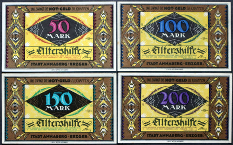 "ANNABERG 1923 ""Assistance for the Elderly"" RARE complete set Inflation Notgeld"