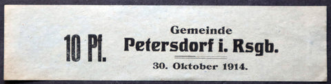 PETERSDORF 1914 10 Pf long note w/rare stamp! Early WWI German Notgeld now Poland