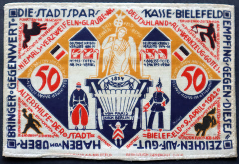 BIELEFELD 1922 Silk 50 Mark German Notgeld Incredible Art!