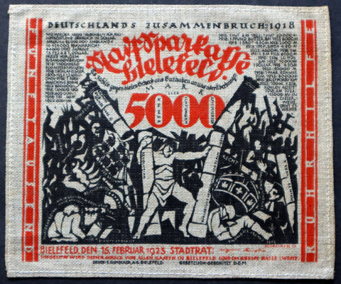 "BIELEFELD 1923 Jute! ""Germany's Collapse, 1918"" 5,000 Mark Inflation Stoffgeld German Notgeld"