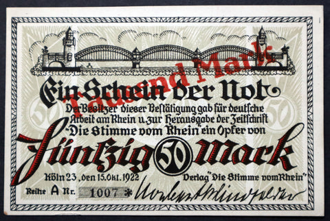 "KÖLN / COLOGNE 1922 XX-RARE ""Voice of the Rhein"" 1000 Mark overprint! single notes German Notgeld"