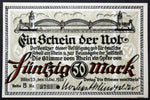 "KÖLN / COLOGNE 1922 XX-RARE ""Voice of the Rhein"" 50 Mark single notes German Notgeld"