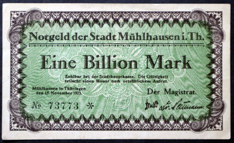 MÜHLHAUSEN 1923 1 Trillion Mark Hyperinflation Notgeld Banknote Weimar Germany