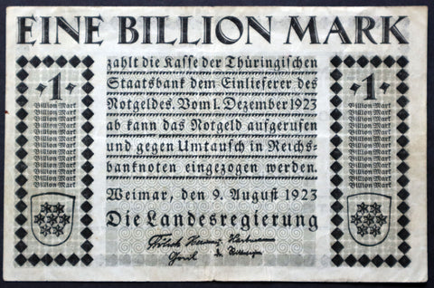 WEIMAR 1923 Bauhaus / Herbert Bayer design! 1 Trillion Mark Hyperinflation Notgeld
