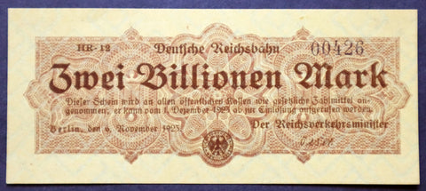 BERLIN REICHSBAHN 1923 2 Trillion Mark Railroad Hyperinflation Banknote German Notgeld