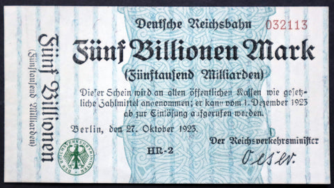BERLIN REICHSBAHN 1923 5 Trillion Mark Railroad Hyperinflation Banknote German Notgeld