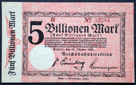 CASSEL REICHSBAHN 1923 5 Trillion Mark Railroad Hyperinflation Banknote Kassel German Notgeld