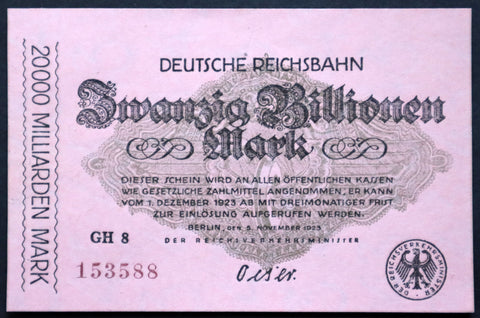 BERLIN REICHSBAHN 1923 20 Trillion Mark Railroad Hyperinflation Banknote German Notgeld
