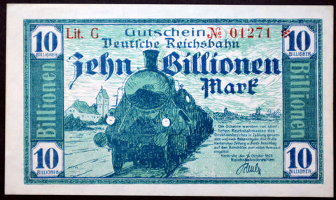 "KARLSRUHE REICHSBAHN 1923 ""Train"" 10 Trillion Mark Railroad Inflation Notgeld Banknote Germany"