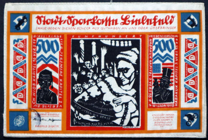 "BIELEFELD 1922 Silk Notgeld! ""Breastfeeding Wall St."" Anti-American Imagery Stoffgeld Germany"