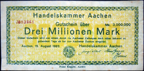 "AACHEN 1923 Rare ""Chamber of Commerce"" 3 Million Mark Inflation Notgeld Germany"