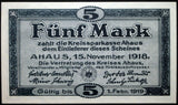 AHAUS 1918 5 Mark Grossnotgeld German Banknote