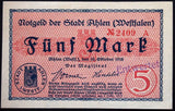 AHLEN 1918 5 Mark Grossnotgeld uncataloged cancel stamp! German Notgeld