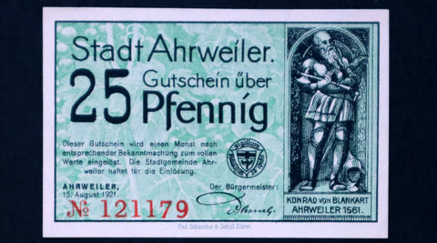 "AHRWEILER 1921 ""There Grows the Wine..."" Green 25 Pfennig German Notgeld"