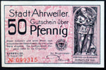 "AHRWEILER 1921 ""There Grows the Wine..."" Red 50 Pfennig German Notgeld"