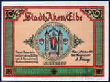 "AKEN 1921 ""Boats on the Elbe River, Beaver"" Flames Watermark single notes (green printer line) German Notgeld"