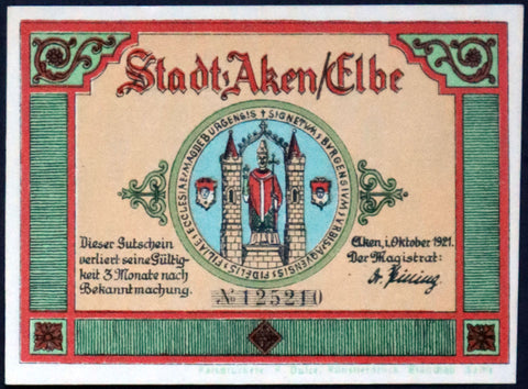 "AKEN 1921 ""Boats on the Elbe River, Beaver"" Flames Watermark single notes (yellow-green printer line) German Notgeld"
